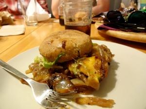 A messy messy Uneeda Burger